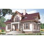 Двухэтажный дом из газобетона 12х12 м с фигурной крышей.