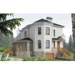 Проект дома из газоблоков 7х10 м с мансардой и эркером.