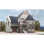 Проект дома из газобетона 11 на 12 м с мансардой и полукруглым эркером.